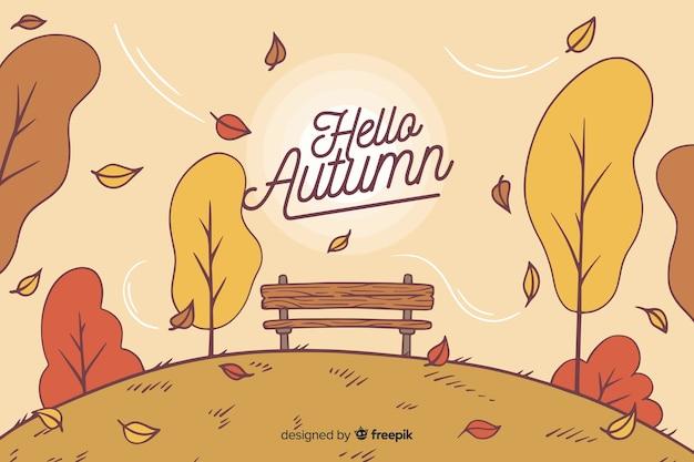 Fondo de otoño con paisaje dibujado a mano