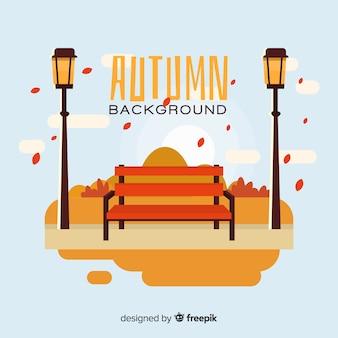 Fondo de otoño con paisaje en diseño plano