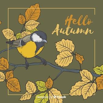 Fondo de otoño de pájaro dibujado a mano