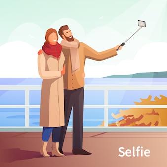 Fondo de otoño paseo selfie