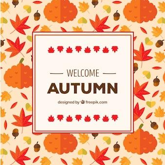 Fondo de otoño con patrón adorable