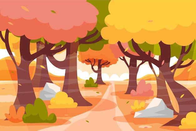 Fondo otoño plano dibujado a mano