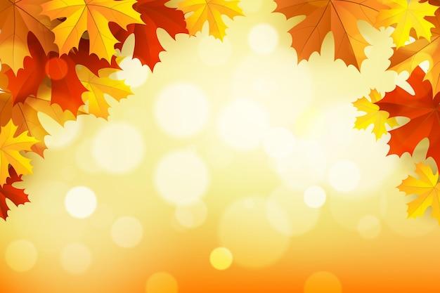Fondo de otoño realista con hojas