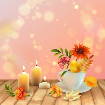 Fondo de otoño con taza, hojas de otoño, flores y velas