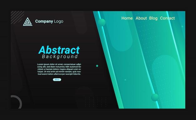 Fondo de página de aterrizaje abstracto fresco con gradación negra y azul
