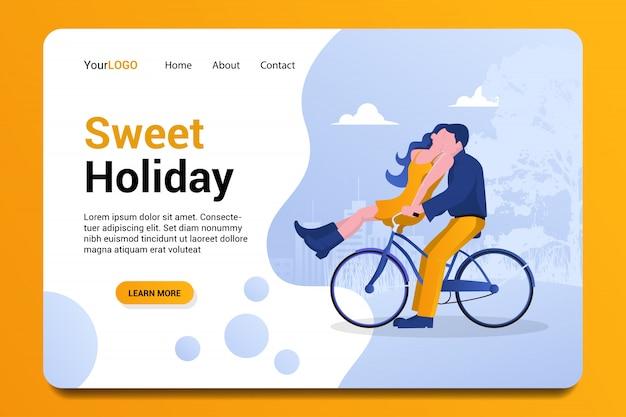 Fondo de página de aterrizaje de dulces vacaciones.