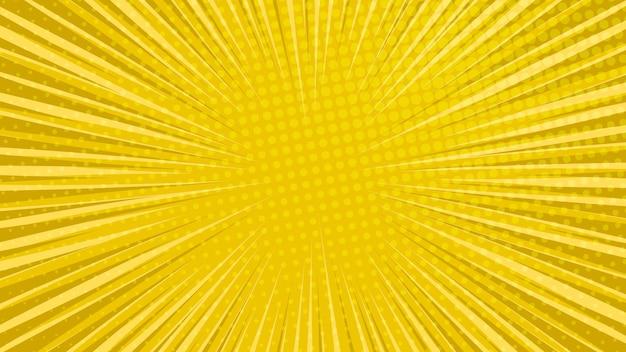 Fondo de página de cómic amarillo en estilo pop art con espacio vacío. plantilla con rayas, puntos y textura de efecto de semitono. ilustración vectorial