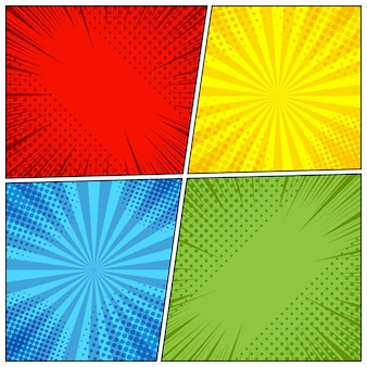 Fondo de página de cómic con efectos radiales, de semitonos y rayos en estilo pop-art.