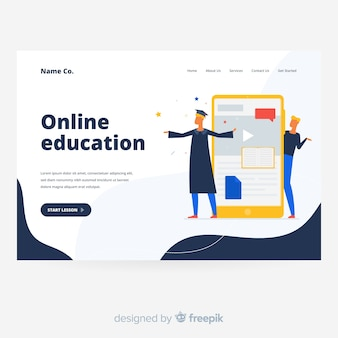 Fondo de página de destino de educación en línea