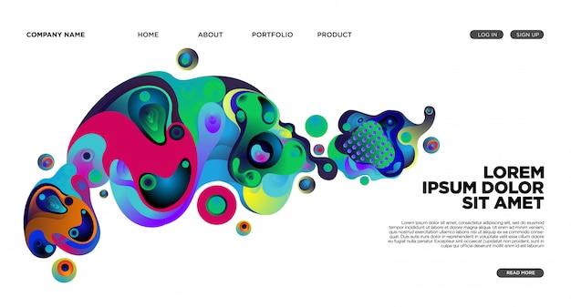 Fondo de la página de destino del sitio web con fluido abstracto