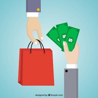 Fondo de pago con bolsa roja