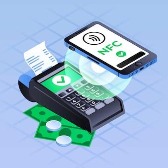 Fondo de pago nfc de teléfono inteligente, estilo isométrico