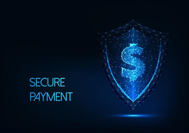Fondo de pago seguro futurista con signo de dólar poligonal brillante bajo y escudo de protección