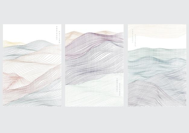 Fondo de paisaje abstracto con onda japonesa. bosque montañoso