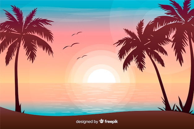 Fondo de paisaje de atardecer en la playa con degradado