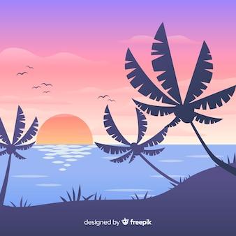 Fondo de paisaje de atardecer en la playa