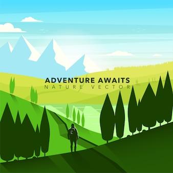 Fondo con paisaje de aventura