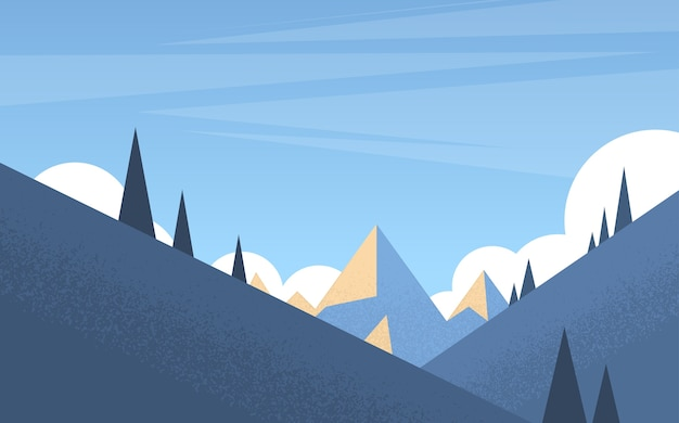 Fondo de paisaje de bosque de montaña de invierno