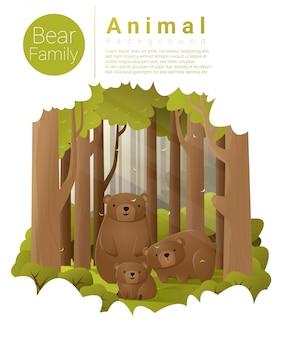 Fondo de paisaje de bosque con osos
