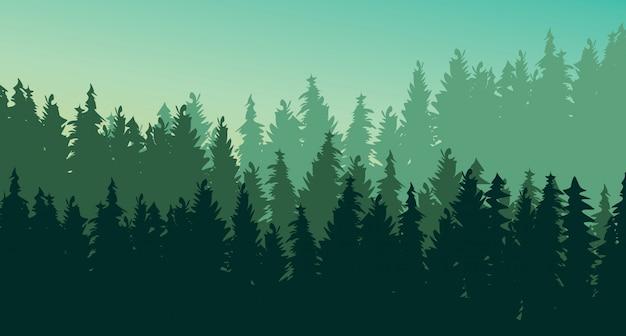 Fondo de paisaje de bosque de pino