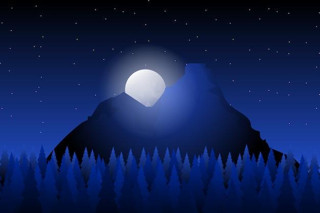 Fondo de paisaje de bosque de pinos con montaña y noche estrellada