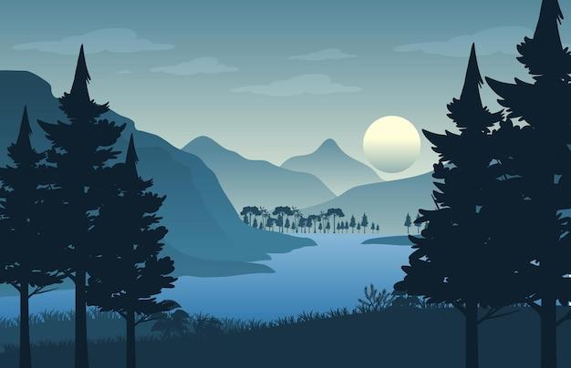 Fondo de paisaje de bosque de silueta