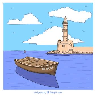 Fondo de paisaje con bote y faro dibujados a mano