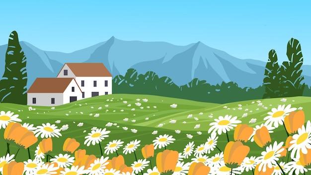 Fondo de paisaje campestre con casas y pradera