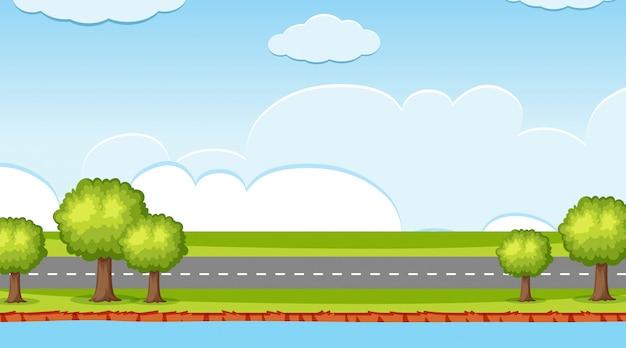 Fondo de paisaje de carretera y río