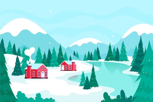 Fondo de paisaje de ciudad de invierno