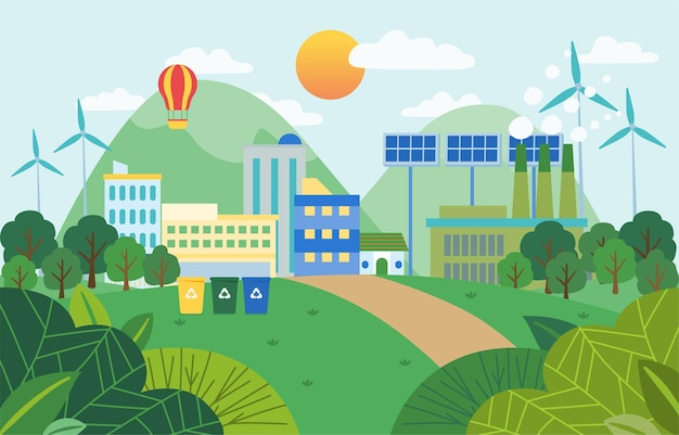 Fondo de paisaje de ciudad y naturaleza ecológica verde con atmósfera pura