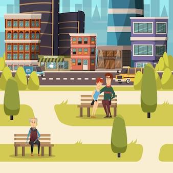 Fondo de paisaje de la ciudad