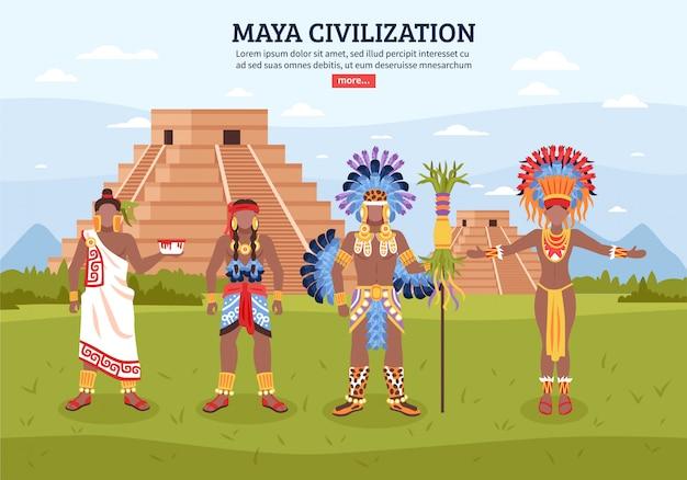 Fondo del paisaje de la civilización maya