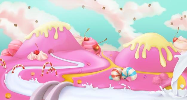 Fondo de paisaje dulce rosa