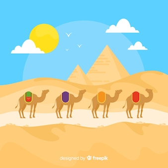 Fondo de paisaje egipcio con camellos y pirámides
