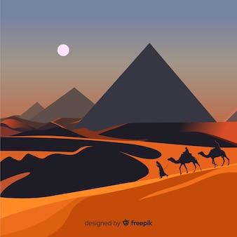Fondo de paisaje de egipto con camellos y pirámides
