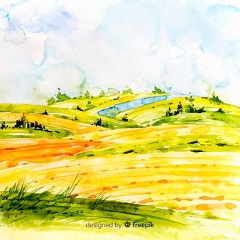Fondo de paisaje de granja en acuarela