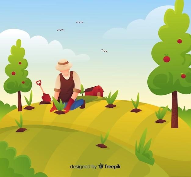 Fondo de paisaje de granja en dibujado animado