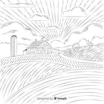 Fondo de paisaje de granja dibujado a mano