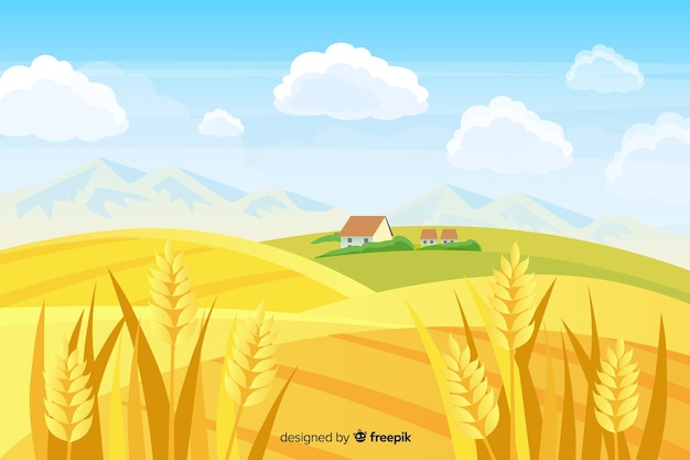 Fondo de paisaje de granja en diseño plano