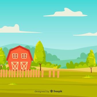 Fondo de paisaje de granja estilo dibujo