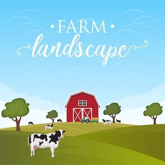 Fondo de paisaje de granja