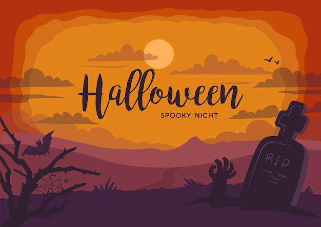 Fondo paisaje halloween espeluznante noche