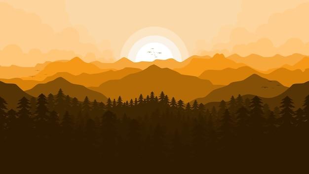 Fondo de paisaje de ilustración de vista a la montaña