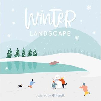 Fondo de paisaje invernal
