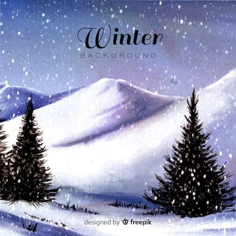 Fondo de paisaje de invierno en acuarela