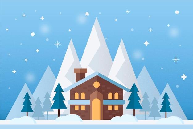 Fondo de paisaje de invierno con casa en las montañas