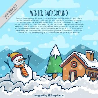 Fondo de paisaje de invierno con casa y muñeco de nieve