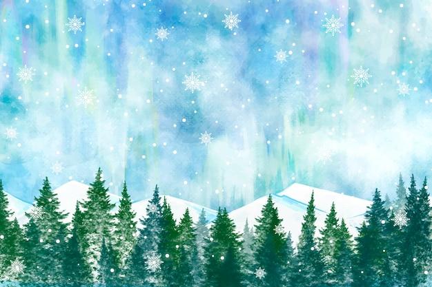 Fondo de paisaje de invierno cubierto de nieve