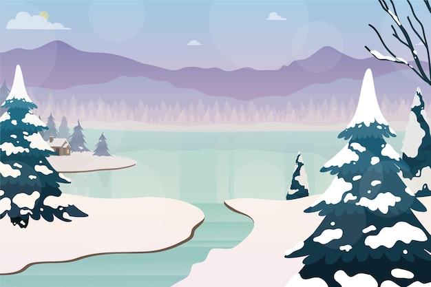Fondo de paisaje de invierno dibujado